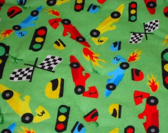 Zoom Zoom Racing Cars Handmade Baby Quilt and Diaper Stacker #71