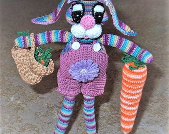 Get It while It Last with Fast Shipping:)   Crochet item -- Bunny--  Gold Basket w/ Carrots plus large carrot