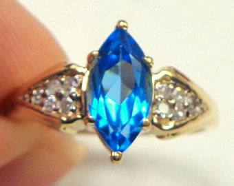 Natural, 1ct., Marquise Cut, London Blue Topaz, 10k Solid Yellow Gold, Diamond Ring, Vintage Estate Ring