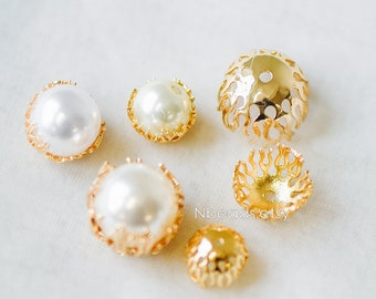 10pcs Gold Floral Bead Caps Large 10/ 12/ 16mm, Fit 10-16mm Beads, Real Gold plated Brass Flower Cap Ends, Lead Nickel Free (GB-198)