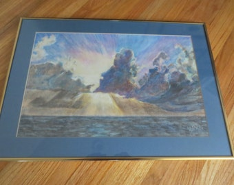 "ORIGINAL PASTEL DRAWING Signed W M 1981 Storm Over The Ocean Matted In Blue Framed In A Goldtone Metal Frame 16"" x 22 1/4"""