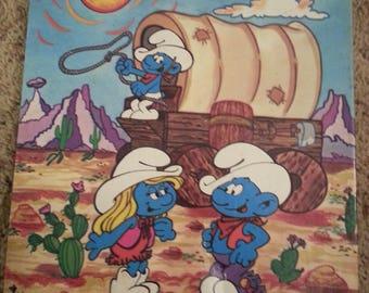 Vintage Smurf 24 piece jigsaw puzzle, 1980's