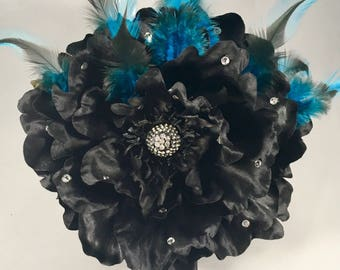 Julie's Burlesque Future Hair Fascinator with Rhinestones/Hair Clip/Pin Up Hair Accessory/Rockabilly/Burlesque
