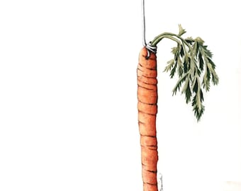 "Don't we all have a carrot we are reaching for? Carrot, illustration, drawing, art, print, photo realistic. 11"" x 14"" standard framing size."