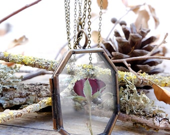 red rose necklace, botanical jewelry,terrarium pendant, dried flowers necklace, glass locket pendant, boho jewelry, aniversary gift