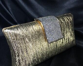 Gold & Crystal Clutch,Gold Evening Bag,Crystal Clutch,Evening Bags,Crystal Bridal Clutch,Gold Minaudiere,Wedding Clutch,Crystal Minaudiere
