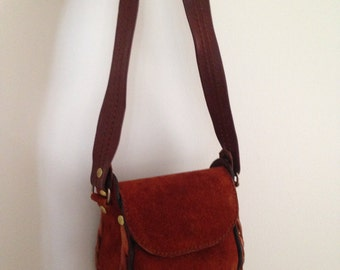 Boho Hippie Hipster Suede One Of A Kind 70s Day Purse Bag