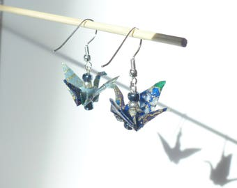 Pair of Origami Earrings - Blue Ornate Paper Crane Pendant with glass beads