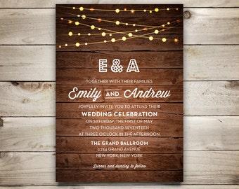 Wedding Invitation Template - Printable Wedding Invitation - DIY Rustic Invitation Template - Instant Download  - String Lights Collection
