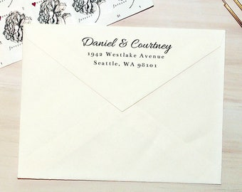 Return Address Stamp, Self-Inking Address Stamp, Custom Return Address Stamp, Wood Stamp, Personalized Stamp, Housewarming Gift - Style #101