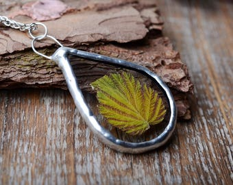 real leaf necklace botanical jewelry Romantic Gift, glass terrarium pendant nature jewelry gift for her tin jewelry Gardening gift