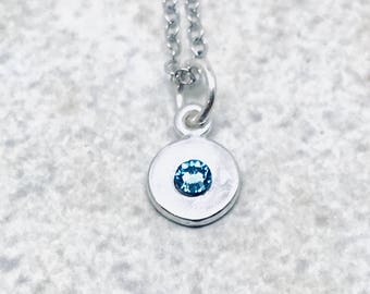 Mini Birthstone Necklace, Sterling Silver, Swarovski Crystal, March Birthstone, All Colors Available, Blue Crystal Necklace, Aquamarine