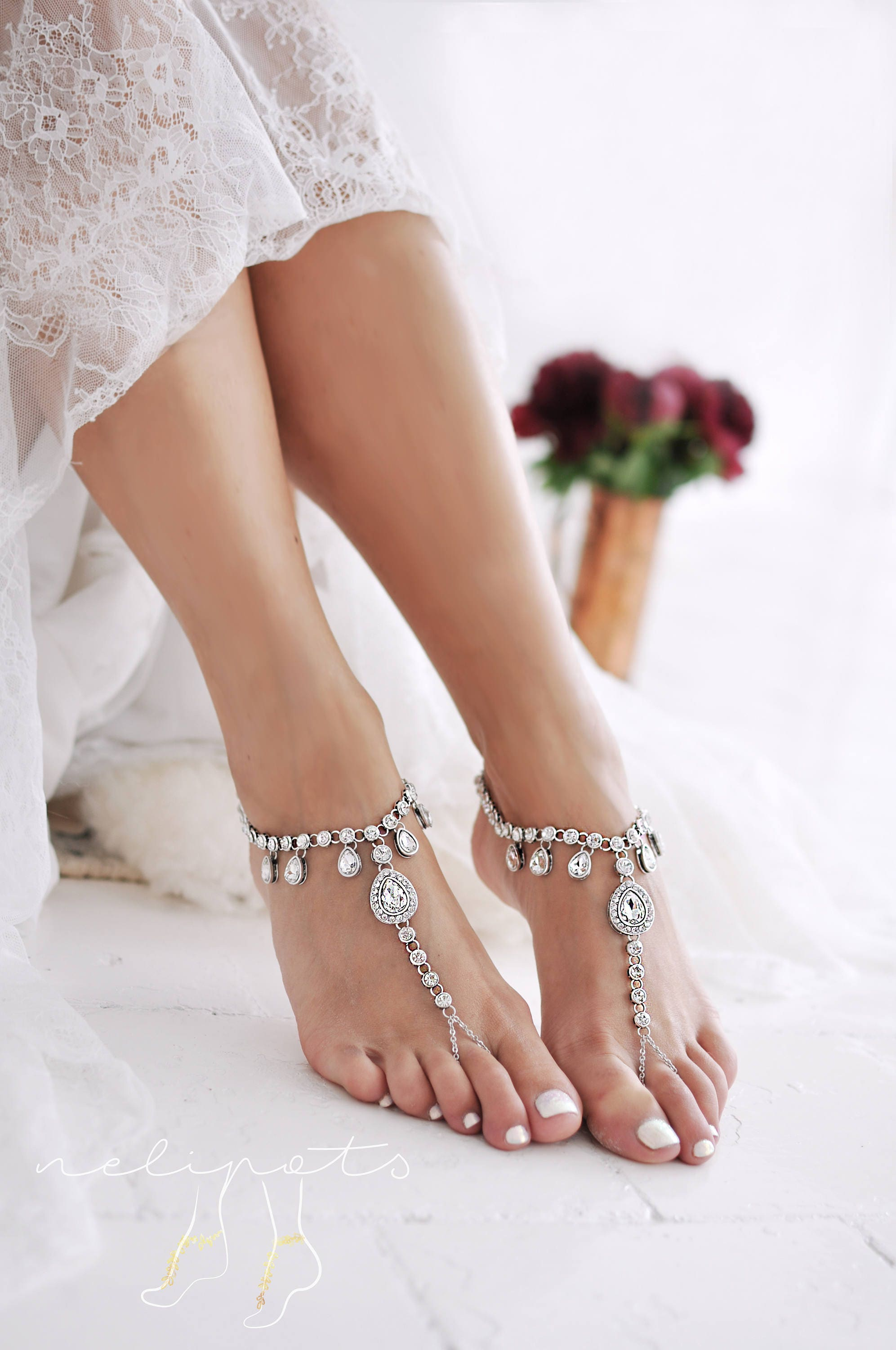 oblacoder anklets silver rhinestone anklet woman online india studded indian women elegant for red