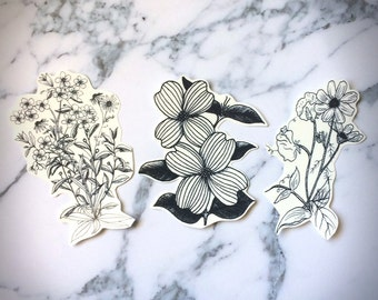 Botanical Temporary Tattoos Temp Plants Leaves Nature Dogwood Daisy Bouquet Bunch Flowers Illustration Black Minimal Delicate Beautiful