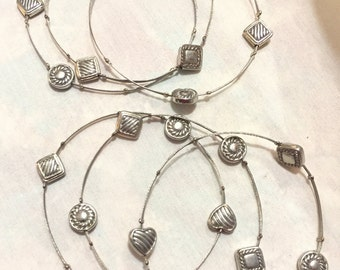 Vintage Boho Silver Wire Charms BANGLE (6) Bracelets, Thin Silver Stackable Bracelet Set 2697-31