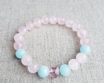 Rose Quartz Bracelet, Rose Quartz Jewelry, Rose Quartz, Gemstone Bracelet, Beaded Bracelet, Womens Bracelet, Aquamarine, Swarovski crystal