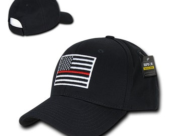 USA American Flag Embroidered 6 Panel Adjustable Operator Cap - Thin Red Line (T76-TRL)