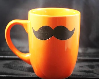 Mustache Mug - Coffee Mug - Tea Mug - Etched Ceramic - Humor Mug - Hand Painted