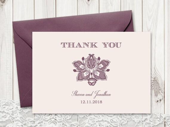 Thank You Card Vintage Lace Mauve Color