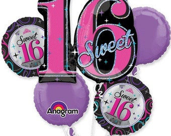 Sweet 16 Birthday – Bouquet Of Mylar Balloons 16th Birthday Balloons