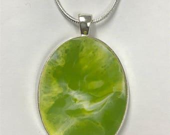 Beautiful large green resin pendant