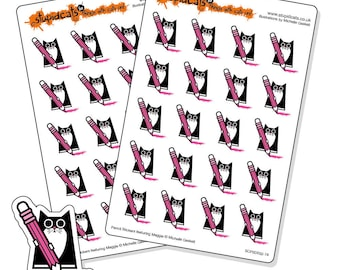 Pencil Planner Stickers - kawaii cat stickers for writing, drawing, colouring, homework- ideal for Eric Condren planners - 40 pink stickers