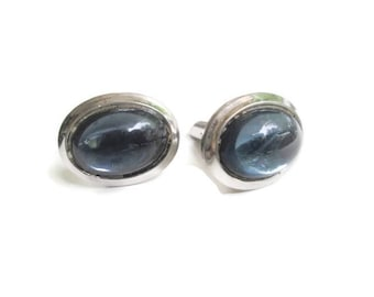 Vintage Blue Glass Cabochon CuffLinks 1940s Pat 2472956 Groom Fathers Day