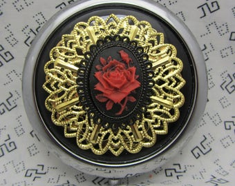 Compact Mirror Beauty and the Beast Red Rose With Protective Pouch Red Rose Compact Mirror Enchanted Rose Trending Now