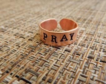 Pray Copper Ring