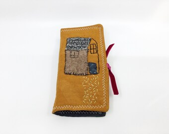 Hand Dyed and Sewn Needle Book/Sewing Organizer/Embroidered Needle Keeper/Fabric Collage Needle Case