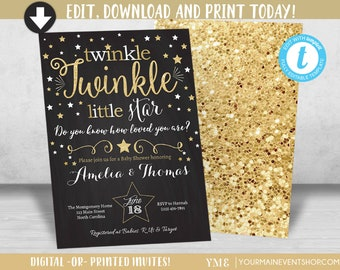 Twinkle Twinkle Little Star Baby Shower Invitation, Neutral Twinkle Twinkle Shower Invite,  Gold Star Invite • BS-T-01