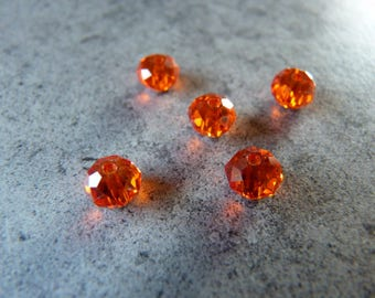 Beads 6mm X 5 swarovski crystal flat round