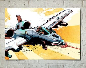 Airplane Print - A-10 Thunderbolt - Airplane Decor, fighter jet, Art Print, Military Gift, Aviation, Airplane Art, Pop Art, Pilot gift