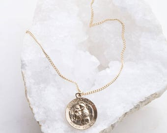 Saint Anthony Gold Filled Round Necklace, Saint of Lost Things Necklace, Dainty Layering Necklace,Catholic Medal Necklace,Saint Patron Charm