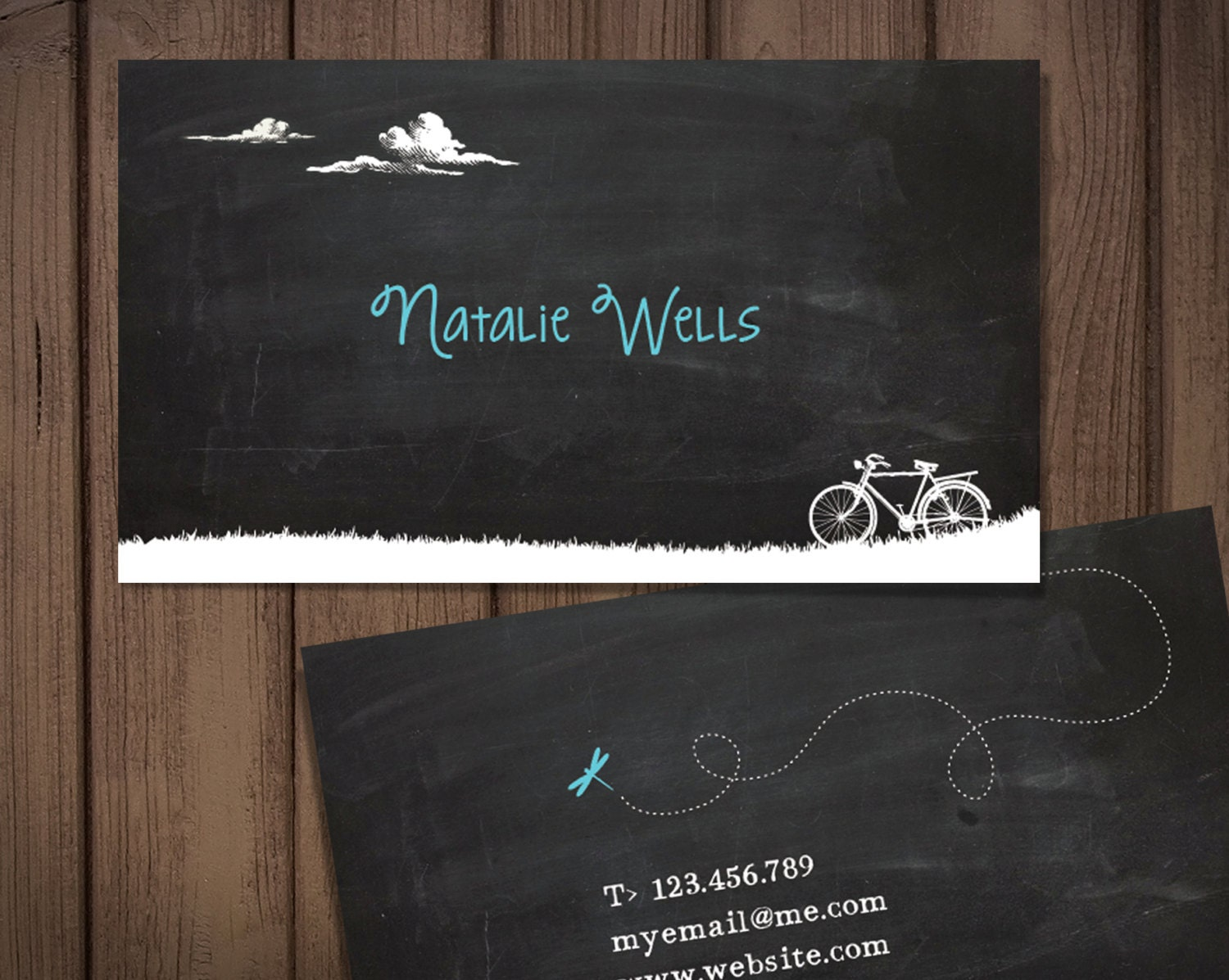 Chalkboard business card / bicycle theme / Premade personal