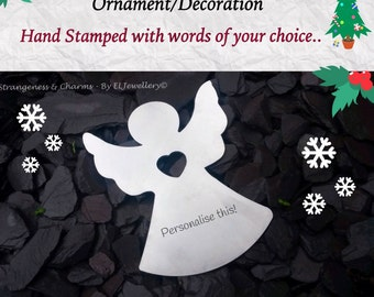 Hand Stamped Personalised Angel Christmas Ornament Decoration, Christmas Angel, Unique Decoration, Home Decor, Your Words, Angels, Handmade