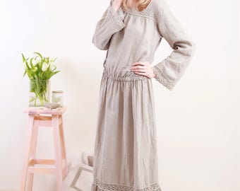 Linen Boho/Hippie Dress/ Linen Long Dress