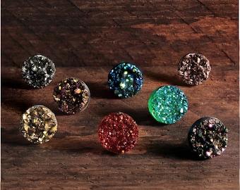 Druzy Earrings, Stud Earrings, Boho Earrings, Stone Earrings, Druzy Stud, Faux Druzy Earrings, Rose Gold Earrings, Bridesmaid Earrings