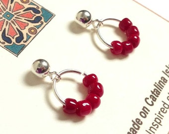 Sterling Silver Post Earrings With Silver Ring & Red Glass Beads