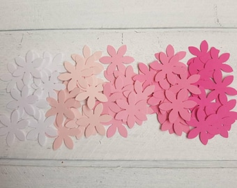 50 White, Light Pink, Pink, Bright Pink Flower Confetti-Ombre Pink-1 Inch-Scrapbooking-Embellishments-Baby Shower-Birthday Party