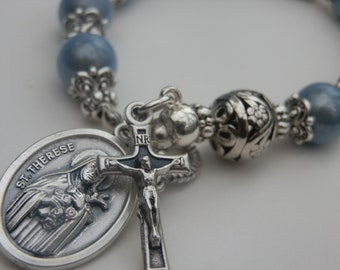 Saint Therese Relic Catholic Decade Bracelet, The Little flower ,Miracle Beads, A Pocket Rosary with Silver Filgree beads,