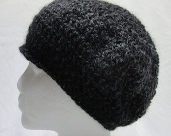 Gray Wool Mohair Hat Striped Cap Mans Womans Large Size Big Head Handmade Crochet knit Spring Oversize Slouch Rounded Warm Soft Fluffy