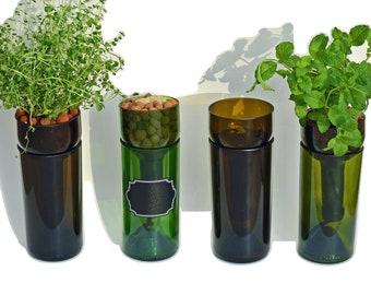 Self Watering Hydroponic Garden Gift / Wine Bottle Indoor Herb Garden In Kitchen / Wine Gift Bottle Planter / Herbs / Indoor Planter / Basil