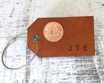 Leather luggage tag, personalised bag label, bespoke case lable, cruise ship gift, travellers, wedding, honeymoon, travel retirement present