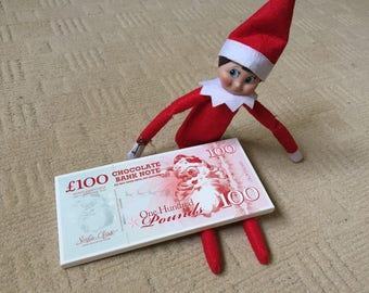 Elf notes etsy shelf chocolate money note 100g elf prop coins on the cash spiritdancerdesigns Gallery