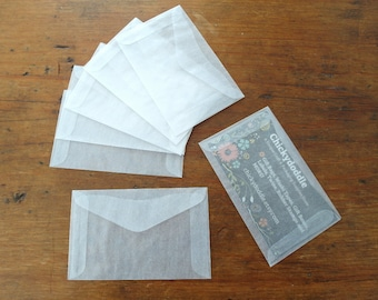 Mini Glassine Envelopes, Business Card Envelope, Gift Card Holder Set of 50 or 100