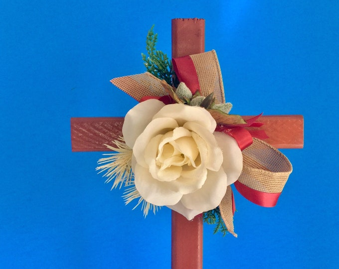 Cemetery cross, grave decoration, memorial cross, Floral Memorial, grave marker, in memory of, flowers for grave, cemetery