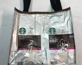 Handmade Purse Made With Recycled Starbucks Coffee bags upcycled repurposed