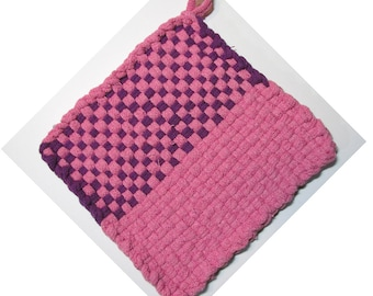 Fun Pink and Purple Hand Woven Large Cotton Potholder No.16