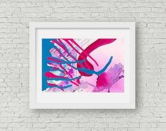 Abstract Pink and Blue Watercolour, Giclee Fine art print